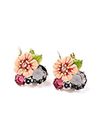 Fun Daisy Fashion Jewelry Wild Exaggeration Drop Stud Earrings Enamel Flowers Lovely Lady