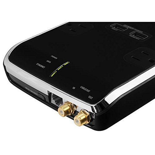 Monster Power - Black Platinum 800 - 8 surge outlets, Dual USB  Connectors, 2700 Joules, with Ethernet over Powerline Adapter, Fire Proof Technology by MONZ9 (Image #1)