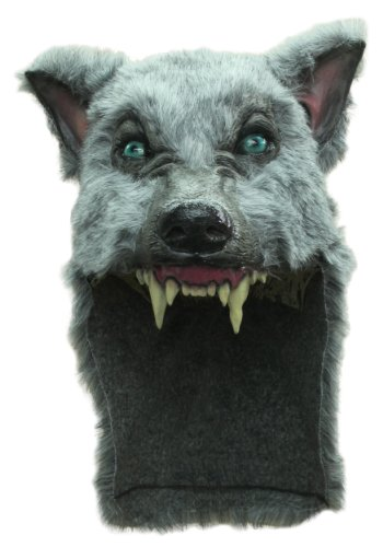 (Gray Wolf Mask Helmet with Faux Fur for Halloween)
