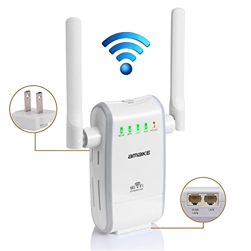 AMAKE Router Repeater Range Extender,WiFi Router 300Mbps 2.4G LAN/WAN AP High Speed Signal Booster Access Point/Best Range Network Plug-In - 360 Degree Full Coverage 2 Antennas by AMAKE