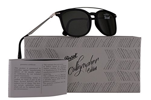 Persol PO3173S Calligrapher Edition Sunglasses Black Grey w/Dark Green Lens 54mm 9531 PO 3173-S PO3173-S PO - Persol Cheap Sunglasses