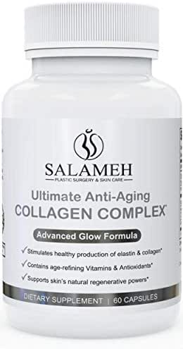 Doctor Salameh Ultimate Anti-Aging Collagen Complex Dietary Supplement Promotes Elastin Production and Cellular Regeneration with Hyaluronic Acid and Peptides (60 Capsules)