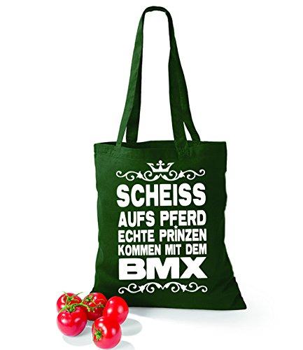 Artdiktat Baumwolltasche Scheiß auf´s Pferd - Echte Prinzen kommen mit dem BMX yellow bottlegreen