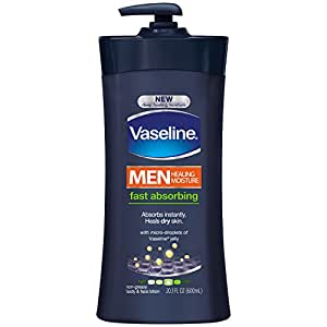 Vaseline Men Healing Moisture Body Lotion, Fast Absorbing, 20.3 oz