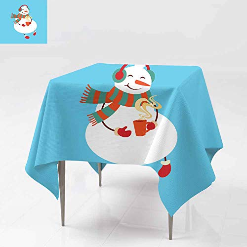 (AFGG Washable Square Tablecloth,Funny Cartoon Snowman Vector Illustration with Snowman,Great for Buffet Table, Parties& More 54x54 Inch in to p hat)