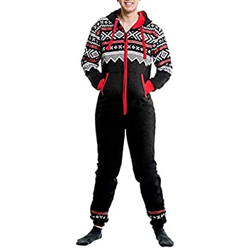 732c48072bb Men s Christmas Onesie Jumpsuit one Piece Non Footed Pajamas Unisex-Adult  Hooded Overall Zip up Playsuit Xmas Romper (Black