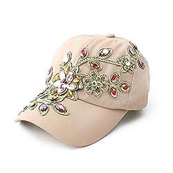 Denim Jean Campagne Bling Flower Pattern Cap