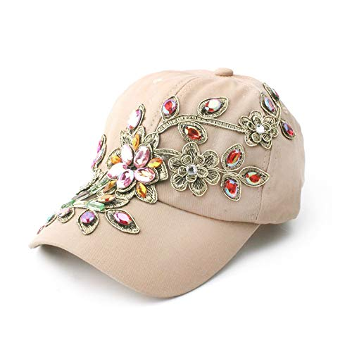 Deer Mum Ladies Denim Jean Campagne Bling Flower Pattern Adjstable Baseball Cap (brown04)