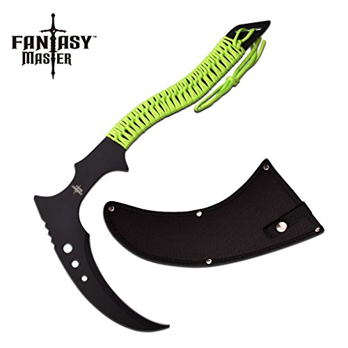 FANTASY FIXED BLADE Knife with Carbon Sharp Blade Durable Grim Reaper Scythe Black Green Sickle Zombie FM-676