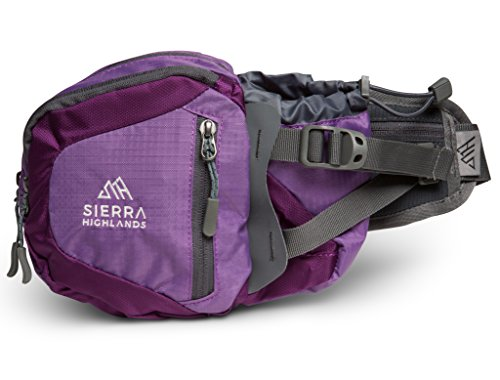 Sierra Highlands Marlette Hiking Fanny Pack Waist Bag with Water Bottle Holder/Carry Your Cell Phone, Sunscreen, Keys, Wallet, and More! (Day Hike Fanny Pack)