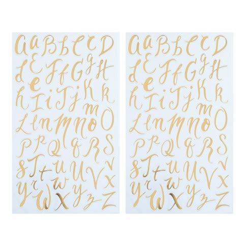 Darice Small Handwritten Font Letter Stickers: Gold Foil, 104 Pc