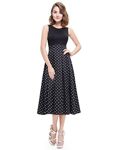 Alisa Pan Womens Tea Length Jeweled Neckline A-Line Polka-Dot Casual Dress 12 US White & Black