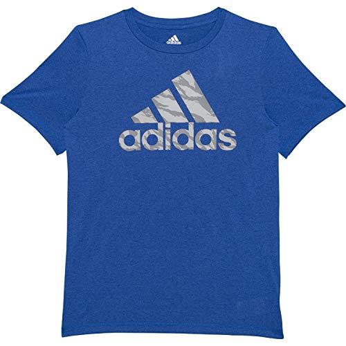 adidas Boys' Short Sleeve Logo Tee Shirt (M (10/12), Heather Blue/Grey Camo)