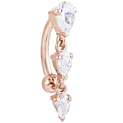 Eternity Triple Teardrop Diamond 1.2 CT TW 14k Rose Gold Belly Ring 14G 7/16