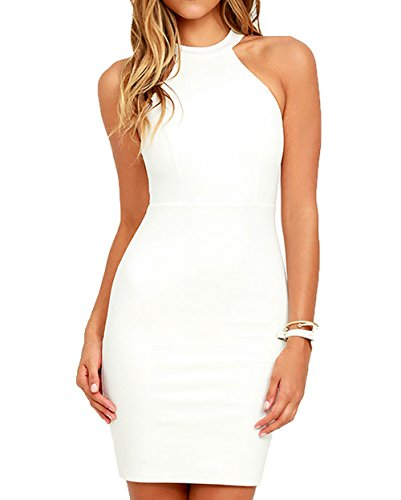 Lyrur Women's Formal Halter Neck Lace Key Hole White Bridesmaid Wedding Dress (#6036-US6, (Halter Bridal Dresses)