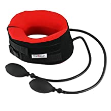 TracCollar - By BODYSPORT - Small/Medium (RED) - Inflatable Neck Traction Device - Cervical Collar For Neck Pain Relief - 2 Hand Pumps For Customizable Treatment - Release Pressure For Neck Pain Relief
