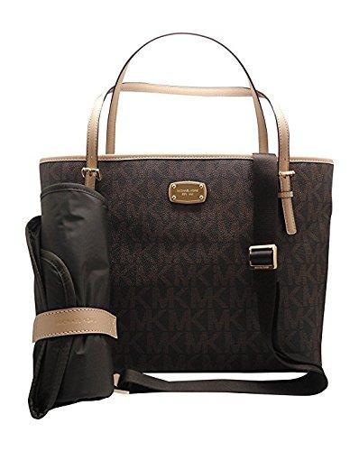 e1313a8447b2 Galleon - Michael Kors Jet Set Item Baby Diaper Bag Signature MK (Brown PVC)