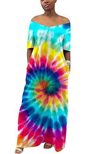 Women's Summer Boho Off Shoulder Short Sleeve Long Beach Dress Maxi Dress with Pocket