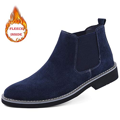 Men's Leather Shoes Ankle Boots Casual Comfortable Winter Faux Fleece Inside High Top Boot (Color : Warm Blue, Size : 7 D(M) US)