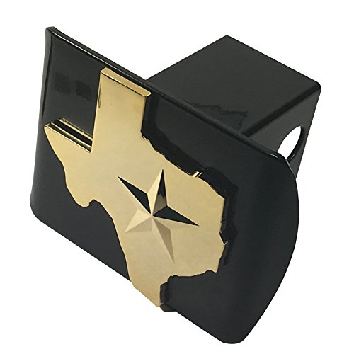 pokerweights Gold Colored State of Texas with Star Metal Emblem on Black Metal Hitch Cover