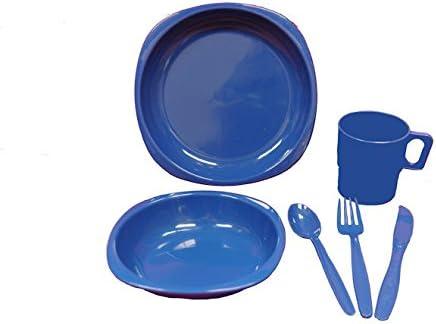 Kit de utensilios de comida para camping, juego para una persona, consta de plato, cuenco, taza y cubiertos de plástico azul oscuro