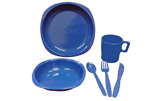 1 Person Camping Picnic Dining Set Plate Mug Bowl and Cutlery Dark Blue GB LEISURE
