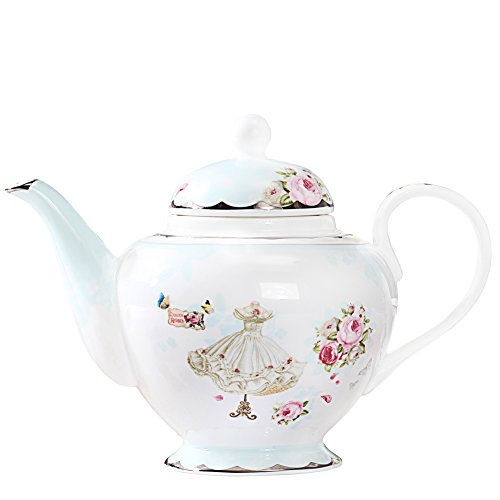 AWHOME Teapot Royal Vintage Bone China Tea Pot Rose Flower Butterfly Blue Boxed (04)