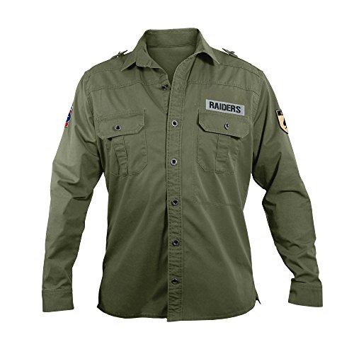 NFL Oakland Raiders Men's Military Field Shirt, XL
