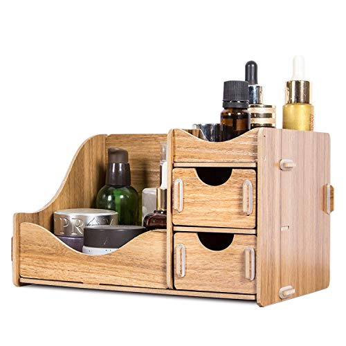 (First Ring Wooden Storage Box for Cosmetics Eco-Friendly Wood Board Makeup Organizer Little Home Office Desktop Drawer Organizer New,Walnut)