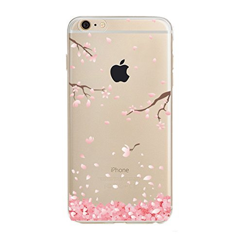 PHEZEN iPhone 6 / 6S Case, iPhone 6 Clear Case, Cherry Blossom Flower Series Design Transparent TPU Bumper Soft Silicone Rubber Skin Back Case Cover for iPhone 6/6S 4.7 Inch (Floral #3)
