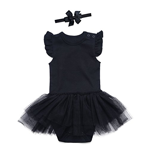 SOBOWO Black Baby Girls' Lace Dress Bodysuit with Headband (0-3 Months, Solid Black)