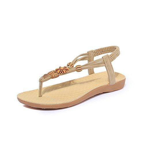 8bbe94ad32 Btrada Mode Femmes Style Bohème Bois Perles Clip Orteil Sandales Chaussures  Plates Abricot