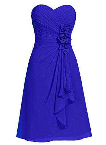 Dell'abito Increspato Delle Damigella Della D'onore Royal I Chiffon Donne Breve Con Vestito Fiori Blu Anlin Promenade 5zqfwxXCR
