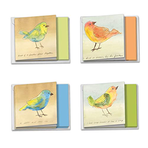 - Watercolor Tweets - Assortment of 12 Blank Note Cards with Envelopes (4 x 5.12 Inch) - Boxed All-Occasion Colorful Birds Notecards - Painted Greeting Card Set (3 Each, 4 Designs) MQ4633OCB-B3x4
