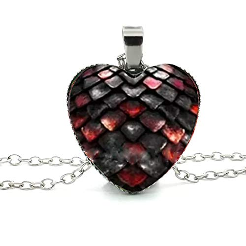 Adorability Dragon Scale Necklace for Women Girls Mens Colorful 3D Heart Shape Unisex Pendant Hypoallergenic Black Red