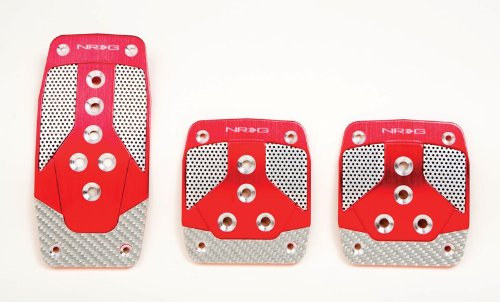 Aluminum Sport Pedal - NRG Innovations PDL-400RD Red Aluminum Sport Pedal with Silver Carbon MT