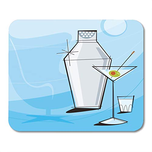 (Emvency Mouse Pads Retro Martini Vignette Shaker and Shot Glass Each Item is Grouped So You Them Independently from The Mousepad 9.5