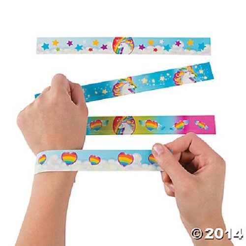 Fun Express Unicorn Metal Slap Bracelets - 12 Pieces