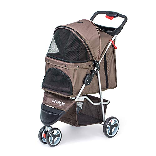 comiga Pet Stroller, 3-Wheel Cat Stroller, Foldable Dog Stroller with Removable Liner and Storage Basket, for Small-Medium Pet,Coffee