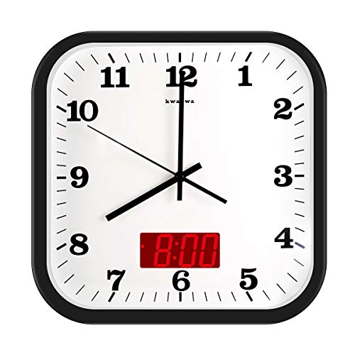 (KWANWA 12 Inches Silent Non-Ticking Square Wall Clock - Aluminum Frame, Acrylic Front Cover, Indoor Temperature Display, Battery Operated)
