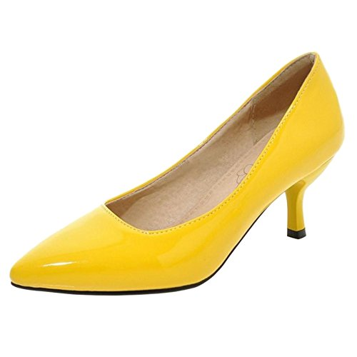 Tacon Aguja RAZAMAZA Formal Mujer Yellow Pumps de TPFgOqx4