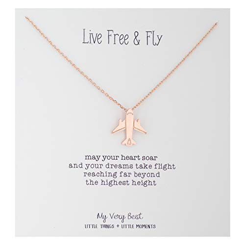 My Very Best Live Free and Fly Airplane Necklace (Rose Gold Plated Brass) (Airplane Attendant Flight)