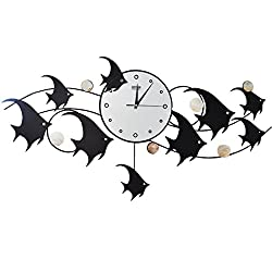 ZHAS Iron Wall Clock Mute Clock Wall Charts Clock Fish Fashion Creative Swing Decoration Characteristics Living Room Metal Boutique Wall Clocks H45cmxW90cm New (Color : A)