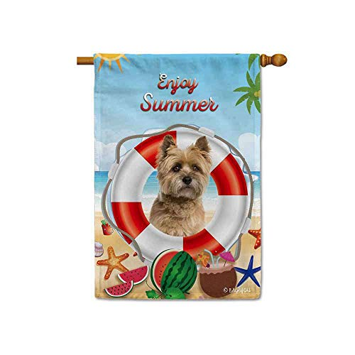 Terrier House Flag - BAGEYOU Enjoy Summer Time with My Love Dog Cairn Terrier Decorative House Flag Lifebuoy Beach Decor Banner for Outdoor 28x40 Inch Printed Double Sided