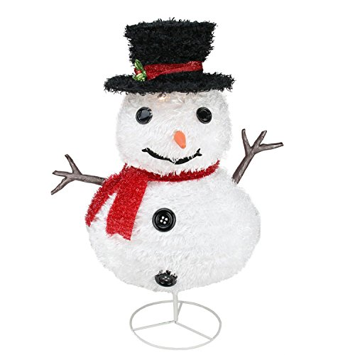 Northlight Seasonal 31729496 Pre-Lit Outdoor Chenille Snowman Kid with Top Hat Christmas Yard Art Decoration, 30