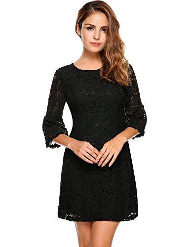 evokem Women's Ladies 3/4 Flare Sleeve Cocktail Party Floral Lace A-Line Pencil Dresses