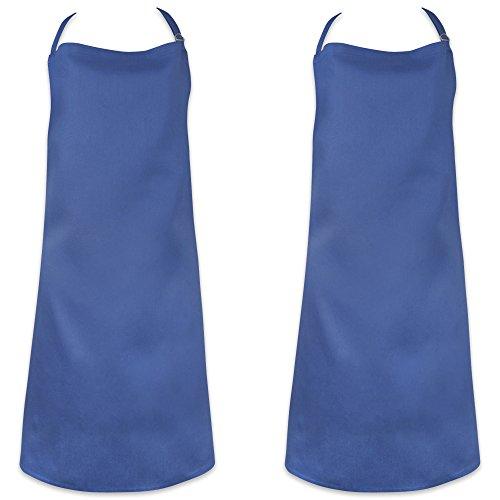 DII 100% Cotton, Commercial Bib Chef Apron, Restaurant, Bistro, Coffee shop, Bar Waitress Waiter Uniform, Durable, Easy Care, Adjustable Neck & Waist Ties, Set of 2-Blue