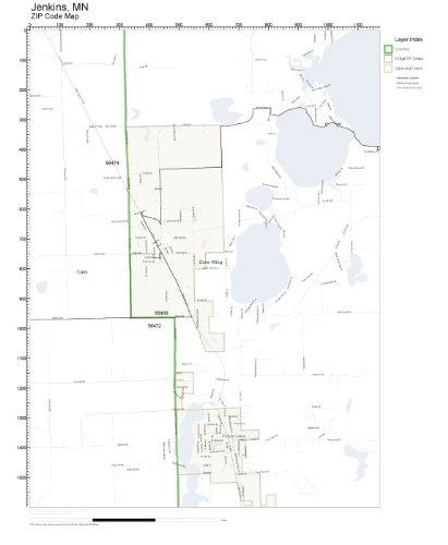 Amazon com: ZIP Code Wall Map of Jenkins, MN ZIP Code Map
