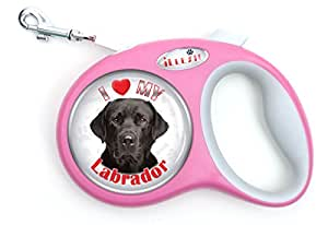 iLeesh i Love My Labrador Black Retriever Retractable Pink Leash