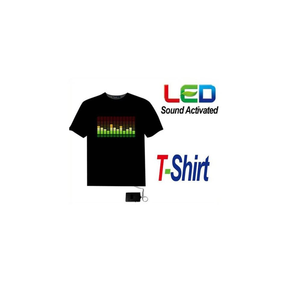 Sound Activated Light Up Flashing Rock Disco Equalizer EL LED T Shirt Size XXXL